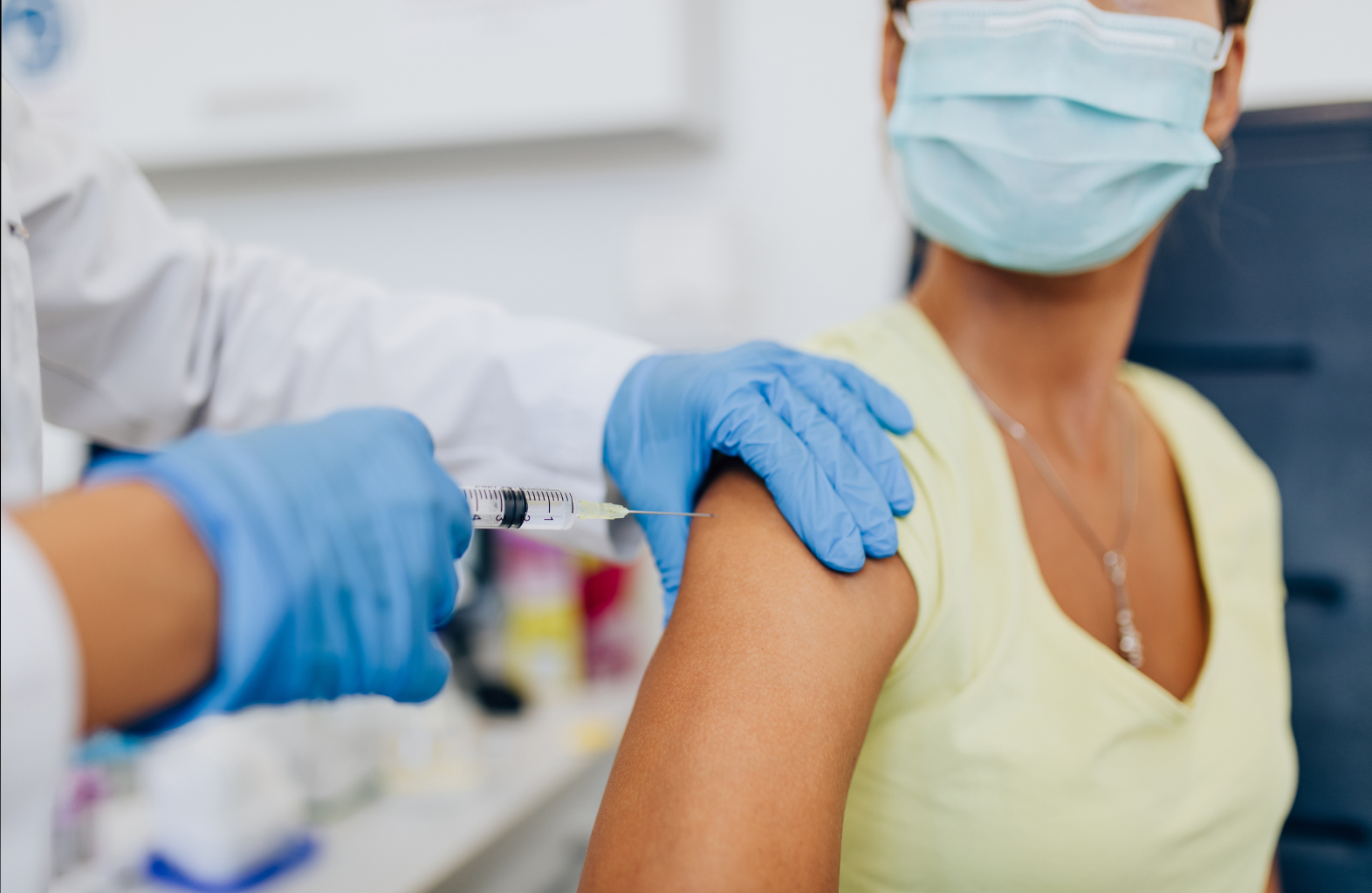 Woman receives a flu shot